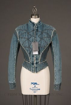 2002 Denim jacket with a leaning towards the Victorian era. Leather Bustier, Leather Jacket, 17th Century Fashion, 2010s Fashion, Military Style Jackets, Denim Fashion, Fashion Men, Recycled Denim, Blazer