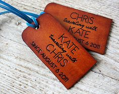 3rd Wedding Anniversary Gift Ideas For Couple : ... Couples Luggage Tags - Personalized - 3rd Wedding Anniversary