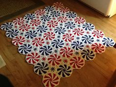 """From fan Lorraine Gentry: """"Just finished the peppermint throw, really love the way it looks. I used red heart super saver yarn."""""""