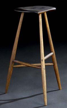 Wharton Esherick Sculpted walnut three-legged stool