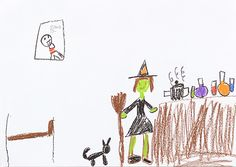 witch cooking at home. crayon. 2014. A4.