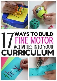 17 Ways to Build Fine Motor Activities Into Your Curriculum --Showing what they know without a pencil while building fine motor muscles. Great for morning work or center activities. Fine Motor Activities For Kids, Motor Skills Activities, Gross Motor Skills, Sensory Activities, Toddler Activities, Learning Activities, Kids Learning, Physical Activities, Differentiated Kindergarten