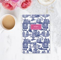 Personalized Recipe Book - Willow Pattern - Chinoiserie Custom Stationery Monogram Journal Cooking Keepsake Blue Pink Pagoda  A pretty way to organize all of your favourite recipes. You could give it to someone you love and ask them to fill it with their favourite recipes as a keepsake.  Perfect house warming, hostess or bridal shower gift.  Each recipe book is hand made by me. D E T A I L S c o v e r Extra thick card stock with a heavy duty clear sheet to protect your cover against cooking…