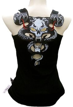 Rockabilly Rockabilly Punk Cobra Snake Skull Tank Top S/M/L/Xl/Xxl - Tops