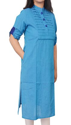 Women Corporate Kurtas, Women Corporate Wear, Womens Wear, Indian Concepts, Cobalt Blue Pleated Yoke Corporate Kurta with Elbow Flap Sleeves