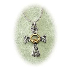 Two-Tone Claddagh Cross Necklace