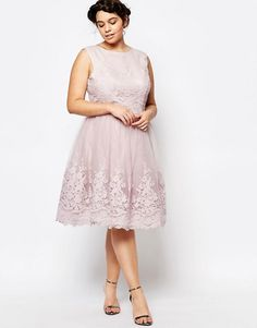 Chi Chi London Plus Premium Embroidered Lace Tulle Midi Prom Dress at  asos.com 26f99968572