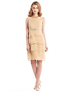 Sheath/Column+Mother+of+the+Bride+Dress+-+Champagne+Knee-len...+–+USD+$+119.99