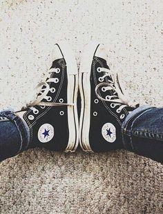 Black Converse All Star Estilo Vans, Estilo Converse, Converse Style, Outfits With Converse, Converse All Star, Dr Shoes, Sock Shoes, Cute Shoes, Me Too Shoes