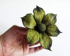 "Felted Flower Brooch, Hand Felted Jewelry, Flower Pin, Green Flower ""Funky flower in olive green "" / MADE TO ORDER"