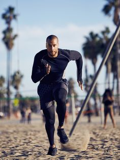 Fitness instructor Aaron Hines prefers form-fitting workout gear for leading his classes. compression layer pants and a fitted long-sleeve t-shirt are great options for him. Workout Style, Workout Gear, Gym Workouts, Sport Fashion, Fitness Fashion, Sweat Out, Gym Essentials, Family Matters, Gym Wear