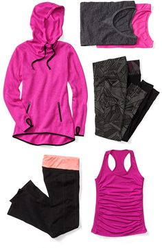Pink and black Old Navy active wear items are perfect for getting into gear for the new year.