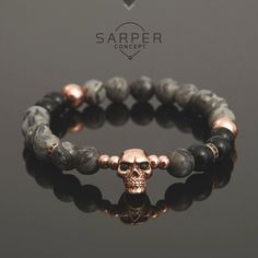 Bracelets For Ladies  :    Bracelets for men, gemstone bracelet, mens beaded bracelet, jasper and onyx beaded with rosegold skull bracelet, gift, birthday gift, bangle  - #Bracelets  https://talkfashion.net/acceseroris/bracelets/bracelets-for-ladies-bracelets-for-men-gemstone-bracelet-mens-beaded-bracelet-jasper-and-onyx-bead/