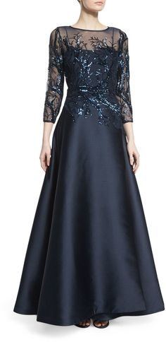 Rickie Freeman for Teri Jon 3/4-Sleeve Sequined Ball Gown