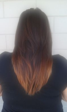 V cut with ombre color