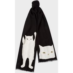 Paul Smith Women's Black Embroidered 'Cat' Pattern Wool Scarf ($250) ❤ liked on Polyvore featuring accessories, scarves, paul smith scarves, embroidered scarves, wool shawl, woolen scarves and paul smith