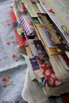journal tabs - i have a journal with a bunch of tabs like that. love the way the pic was taken to show the variety.