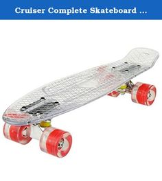 Cruiser Complete Skateboard deck 22 Inch Led Light Standard Retro Style Plastic Board By Gracelove. 1.Item: Skateboard 2.Brand: Ancheer 3.Material: Plastics board, PU Wheels, Steel Bearing 4.Clear board dimension: 57 x 15cm/22.2 x 5.9inch(L X W) 5.Wheel diameter: 5.8cm/2.3inch 6.Net weight: 2KG/4.4lbs 7.Charging cable length: 81cm/31.6inch 8.Recommend user weight: Under 85KG 9.Package content: 1 x Complete Skateboard 10.Feature: ◆wheels with light, USB charging interface ◆No assembly...