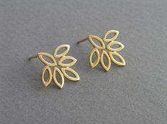 Gold Leaf Earrings Lotus Earrings by DaliaShamirJewelry Gold Hoop Earrings, Leaf Earrings, Flower Earrings, Gold Necklace, Gold Earrings Designs, Solid Gold Jewelry, Gold Jewellery, Jewellery Earrings, Silver Jewelry
