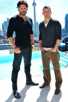 Yummmy. Two very fine men right here!    Joe Manganiello and Channing Tatum