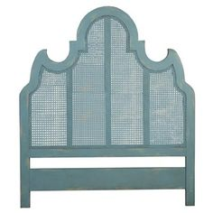 ELK Home 954505 Cane Queen Headboard Coastal Aqua over Scandinavian Linen Blue Headboard, Queen Headboard, Panel Headboard, Coastal Cottage, Coastal Decor, Coastal Living, Beach House Furniture, Cane Furniture, Kid Bedrooms