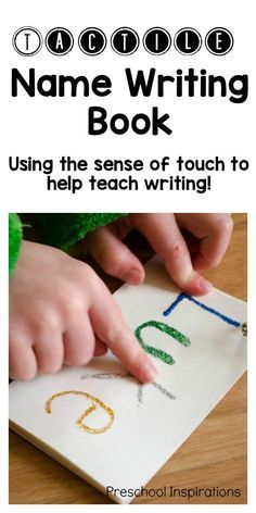 Make a sensory name book to help children learn to write their names with their sense of touch! This tactile name writing book is the perfect way to teach a child to learn to write his or her name. - Education and lifestyle Name Writing Activities, Name Writing Practice, Preschool Writing, Teaching Writing, Preschool Learning, Preschool Kindergarten, Preschool Literacy Activities, Preschool Homework, Preschool Centers