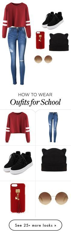 """School Outfit"" by le-tater on Polyvore featuring WithChic, Henri Bendel and Victoria Beckham"