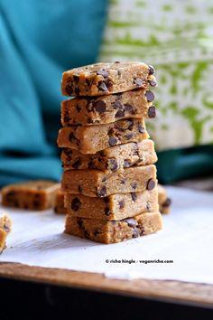 Chocolate Chip Cookie Dough Bars. No Bake Vegan Glutenfree | Vegan Richa