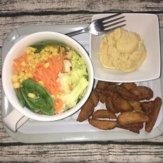 Dinner - #Salad #wedges homemade #hummus - salad has #sweetcorn #beetroot #spinach #lettuce - everyone was enjoying a pizza so I had a third of the wedges with my salad - felt like a feast after nothing hog for a week lol #rawfood  #healthyfood #plantbased #forksoverknives  #vegetarian #vegan