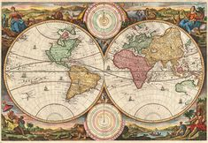 Map of the world by the Dutch engraver Daniel Stoopendaal published in 1730.