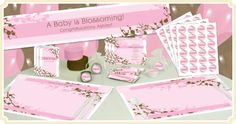 Pink and glitter baby shower themes are perfect for celebrating a girl baby shower. Find the perfect pink pattern, classic storybook theme, or other fun girl baby shower theme ideas here. Cherry Blossom Decor, Cherry Blossom Party, Cherry Blossoms, Birthday Decorations, Baby Shower Decorations, Birthday Party Themes, Baby Girl Shower Themes, Baby Shower Gifts, Cherry Baby