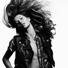 --Gisele Bundchen--flannel&leather--(Photo by Hedi Slimane)