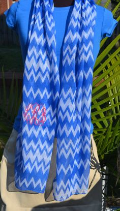 For the Grove: Chevron Monogrammed Game Day Scarf by byrdlegs on Etsy, $20.00