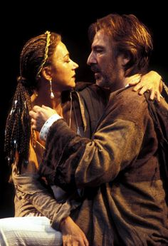 "Alan Rickman with Helen Mirren in ""Anthony and Cleopatra""1998."