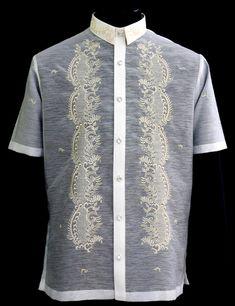 Short Sleeves Barong Tagalog - Barongs R us Barong Tagalog, Filipiniana Dress, Philippines Fashion, Line Shopping, Filipina, Dressing, Short Sleeves, Men Casual