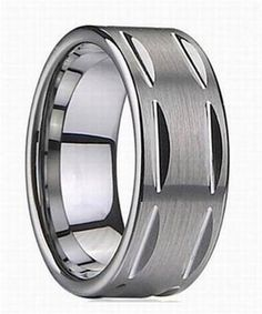King Will 8MM Men's Tungsten Ring Brushed & Grooved Wedding Band(10)