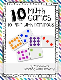 Upper Elementary Snapshots: 10 Math Games to Play with Dominoes Kindergarten Math Games, Fun Math Games, Math Tutor, Math Classroom, Teaching Math, Math Activities, Teaching Ideas, Learning Games, Mental Maths Games