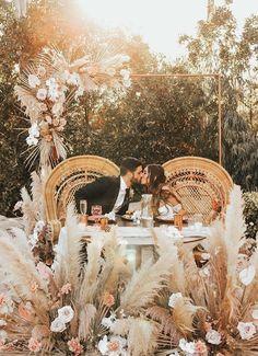 Pampas grass wedding decor with sweetheart table - Brogen Jessup Wedding Photo wedding Pampas Grass Wedding Ideas for the Boho Glam Bride Bohemian Bride, Bohemian Wedding Theme, Bohemian Weddings, Indian Weddings, Hindu Weddings, Bohemian Wedding Inspiration, Boho Theme, Wedding Theme Design, Beach Weddings