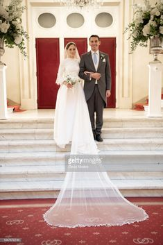 Prince Nicholas of Romania and Princess Alina of Romania pose during the official picture at Casino of Sinaia on September 2018 in Sinaia, Romania. (Photo by David Niviere/Getty Images) Adele, Wedding Memorial, Royal Weddings, Formal Dresses, Wedding Dresses, Royalty, Wedding Inspiration, Poses, Pictures