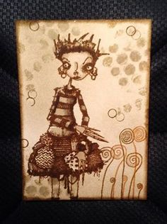 Artwork created by Fran Chalmers using rubber stamps designed by Daniel Torrente for Stampotique Originals