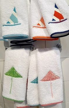 LULU DK for Matouk towels for summertime - sailboats and umbrella