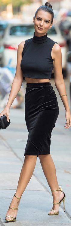 Emily Ratajkowski in a Tanya Taylor Crop Top and pencil skirt