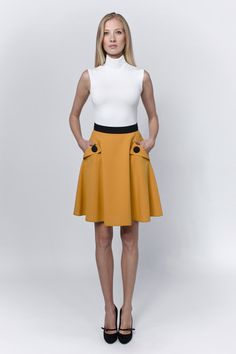 Mustard round skirt | LACCA Fashion