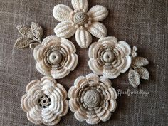 "Application 2""- 4""- inches (5-10 cm), Irish crochet , bag, leaves, Crochet…"