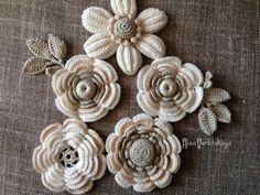 "Application 2""- 4""- inches (5-10 cm), Irish crochet , bag, leaves, Crochet…"