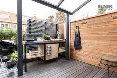 Rooftop Terrace Design, Terrace Garden, Diy Outdoor Kitchen, Outdoor Decor, Outdoor Grill Area, Backyard Bar, Backyard Ideas, Grill Table, Kamado Grill
