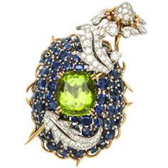 TIFFANY amp;amp; CO SCHLUMBERGER Sapphire Diamond Peridot Platinum Flower Brooch