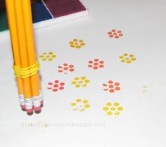 Use bundled pencils - eraser side down - as a flower stamp; also eraser grape clusters Kids Crafts, Crafts To Do, Craft Projects, Arts And Crafts, Paper Crafts, Diy Stamps, Eraser Stamp, Pencil Eraser, Pencil Art