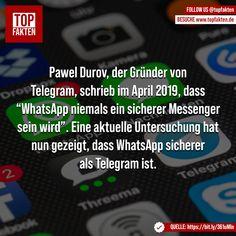 """Pawel Durov, der Gründer von Telegram, schrieb im April 2019, dass """"WhatsApp niemals ein sicherer Messenger sein wird"""". Eine aktuelle Untersuchung hat nun gezeigt, dass WhatsApp sicherer als Telegram ist. #whatsapp #telegram #nachricht #sicherheit #digital #technik #fakten Instagram, Technology, Safety, Writing"""