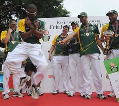 South African players dance on the podium after winning the Hong Kong Super Sixes vs Pakistan, Oct 28, 2012